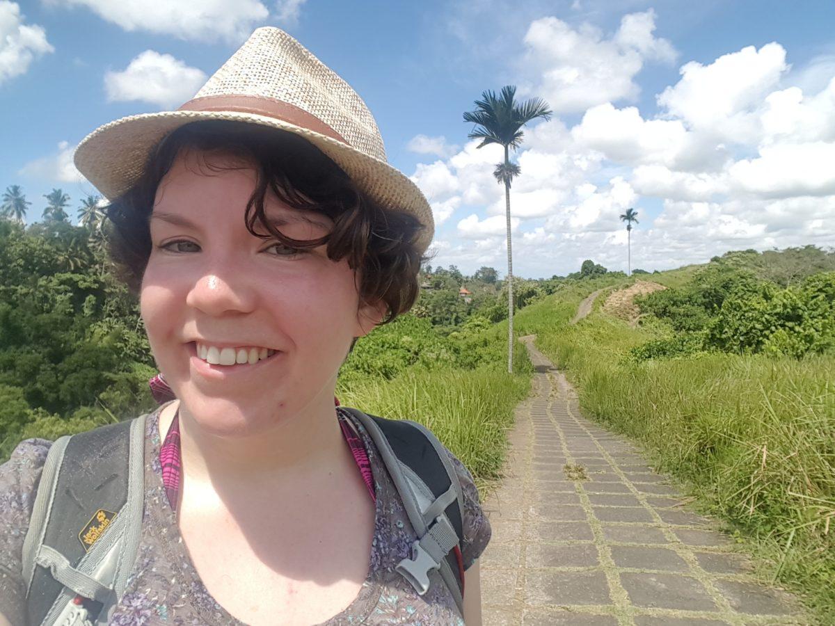 Rahel in den Reisfeldern von Ubud