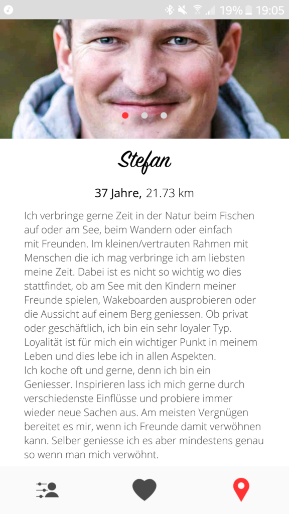 Stefans Profil auf der Dating App Meet mit Foto und Text